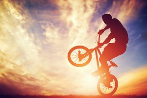Man riding on bmx bike