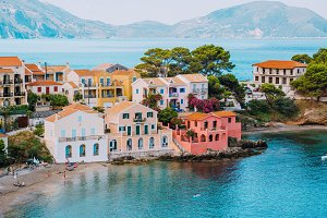 Assos village. Vivid colorful local