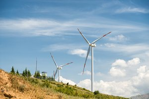 Windmills, wind energy background