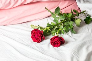 Romantic getaway with red roses on b
