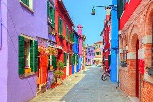 Colorful houses on Burano island