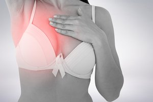 Woman in bra with breast cancer