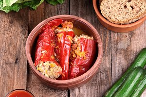 Baked red peppers with meat and rice