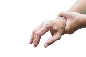 Man holds his hand acute pain