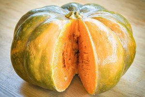 Sliced orange ripe pumpkin