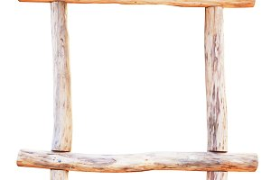 Square wooden frame isolated on whit