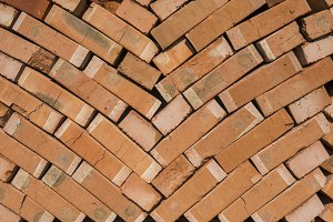 Stack of red bricks as a background