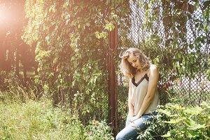 Blonde short hair outdoors