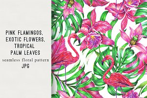 Flamingo tropical pattern background