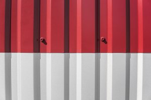 Metal white and red sheet for