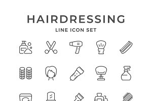Set line icons of hairdressing