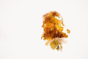 girl autumn multiple exposure