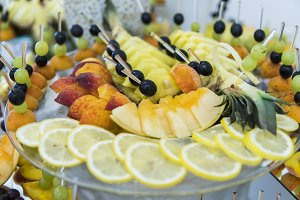 Feautiful fruit buffet served for