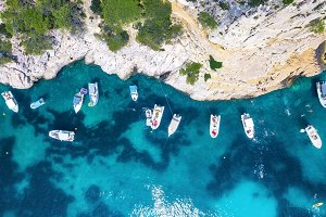 Yachts at the sea in France. Aerial