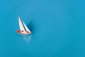 Aerial view at the yacht