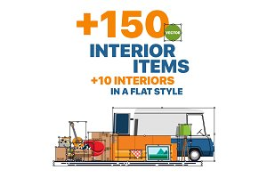 Items and interiors in flat style
