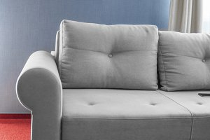 Comfortable grey couch in a living