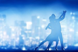 Dancers couple. Romantic scene