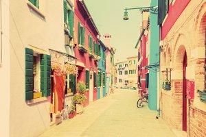 Houses on Burano Island. Vintage