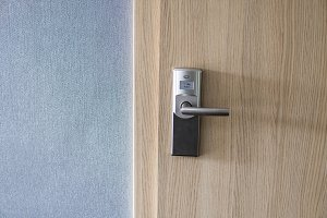 Hotel electronic lock on wooden door