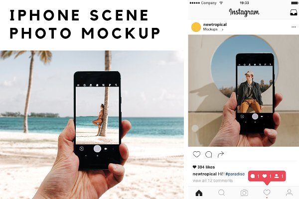 Mobile &amp&#x3B; Web Mockups: New Tropical Design - Iphone Scene Photo Mockup