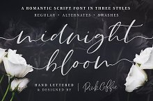 Midnight Bloom Script Font + Swashes by  in Script Fonts