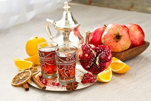 Moroccan teaset, arabic tea, fruits