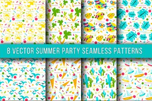 Summer Party Seamless Patterns
