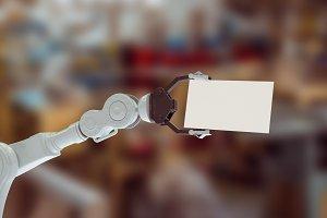 Hydraulics arm holding placard 3d