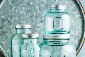 empty measuring glass jars for prese