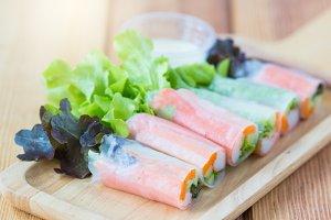 Fresh salad vegetables noodle spring