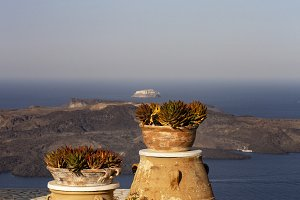 Pots and flowers on the island of Sa