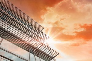 Sunrise over modern building