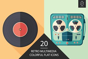 Retro multimedia flat icon set