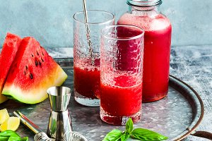 Freshly squeezed juice from a waterm