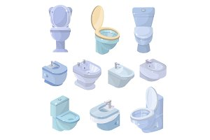 Toilet bowl and seat vector