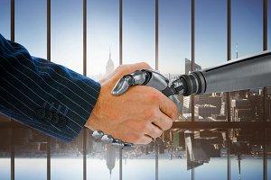 Businessman shaking hand of robot