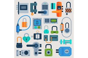 Lock door vector flat icons set