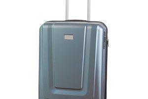 blue luggage isolated on white backg