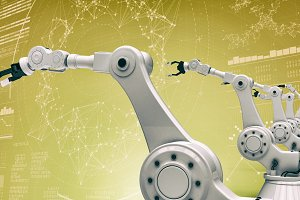 Vector image of modern robotic arms