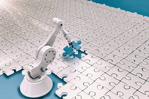 Robot setting up jigsaw puzzles 3d