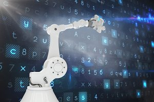 Robotic arm holding jigsaw piece 3d