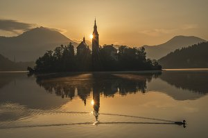Mystical Sunrise at lake Bled Church