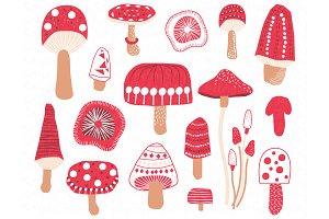 Cute Mushroom or Toadstool Set
