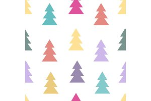 Seamless pattern with fir trees