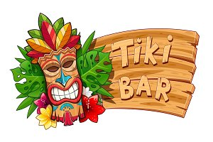 Tiki tribal wooden mask. Hawaiian