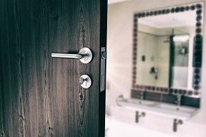 Closeup of door with doorknob