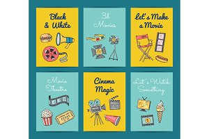 Vector cinema icons card templates