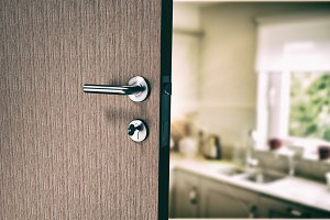Door with doorknob and key