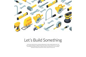 Vector construction tools isometric